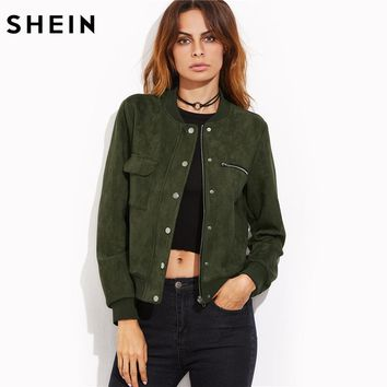 Green Suede Hidden Zip Bomber Jacket Fall Winter Women's Jackets and Coats Stand Collar Single Breasted Jacket
