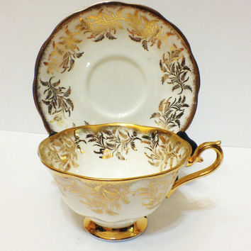 ON SALE Vintage Tea Cup and Saucer, Royal Albert, Fine Bone China, Gold and White, Wheat Pattern, 1950s,