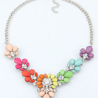 Floral Cluster Collar Necklace