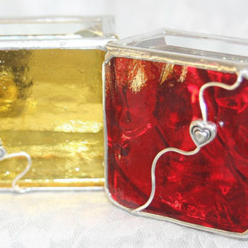 Stained Glass Jewelry Box Red 2x2 Engagement Ring by GaleazGlass