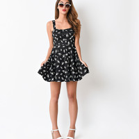 Black & White Eye Symbol Fit N Flare Short Dress