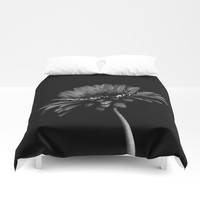 Daisy gerbera. Black and white Duvet Cover by vanessagf