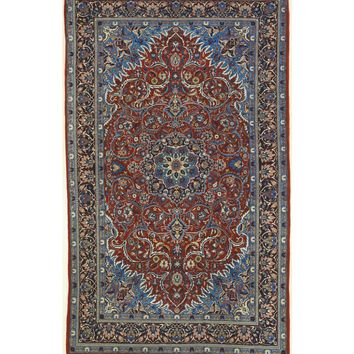 EORC Hand-knotted Wool Rust Traditional Oriental Sarouk Rug