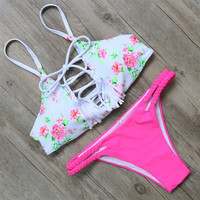 Floral Printed Swimwear Bathing Suits Push Up Bikini Set