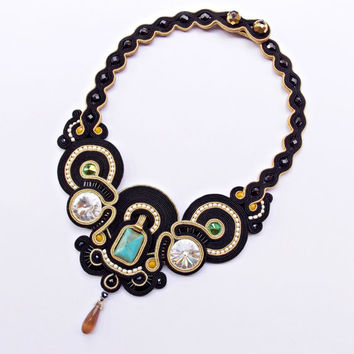 Black soutache necklace with swarovski crystals.