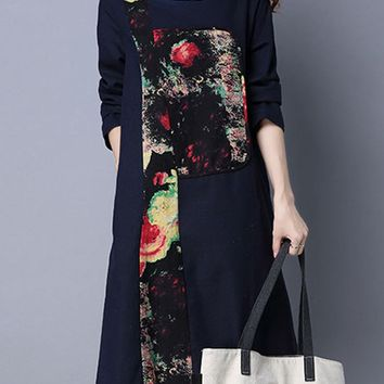 Streetstyle  Casual Round Neck Slit Pocket Printed Cotton/Linen Shift Dress