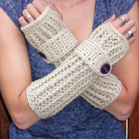 warm oats long ribbed with wrist strap crochet button arm warmers, fingerless gloves