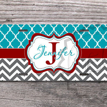 Turquoise Moroccan pattern and Charcoal Gray chevron with Red monogram label Custom License Plate, vanity car tag, front car plate - 293