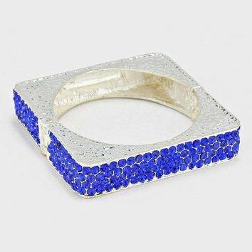 Crystal Rhinestone Pave Hinged Square Bangle Bracelet