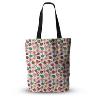 "Jane Smith ""Garden Floral"" Plants Bugs Everything Tote Bag"