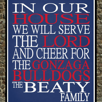 Customized Name Gonzaga Bulldogs - Zags personalized family print poster Christian gift sports wall art - multiple sizes