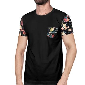 Red Vintage Rose Floral Print t shirt Men with Pockets Plus Size S-3XL Casual Hip Hop Streetwear T-shirt for Men Tee Tops