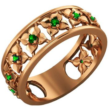 Gift for Women Rose Gold Green Flower Eternity Wedding band Ring Leaves ring Filigree band Friendship Green Floral Jewelry Width 6.9 mm