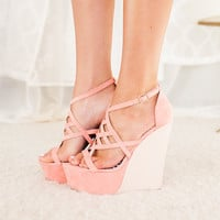 Diamond Suede Wedges in Coral CLEARANCE