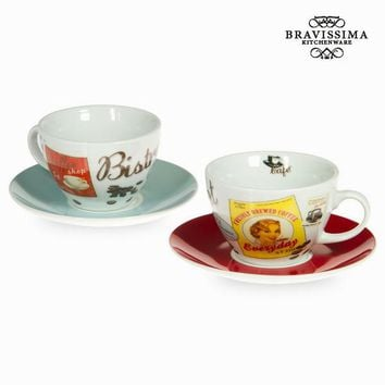 Set of 2 coffee cups with plate - Kitchen's Deco Collection by Bravissima Kitchen