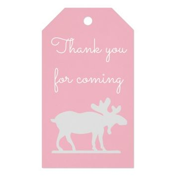 Pink Moose Woodland Animal Thank You Gift Tags