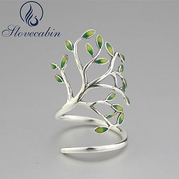Slovecabin 2017 New Design Unique Green Tree Enamel Wedding Ring For Women 925 Sterling Silver Tree Ring Fine Jewelry Adjustable