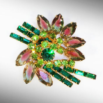 Stunning Green and Pink Rhinestone Brooch Vintage Jewelry