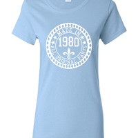 Made in 1980 All Original Parts Tshirt. 35th Birthday Shirt.  Funny Birthday Tshirts. Ladies and Mens Unisex Styles. Makes A Great Gift.