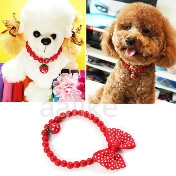 Pet Dog Cat Jewelry Beads Necklace Red Necklet Bell Polka Dot Bow bowknot Collar