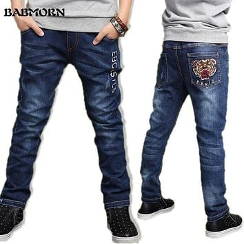 4T-14T jeans for boy kid fashion Tiger head cool boys jeans spring trousers letter children denim pants kids clothes clothing