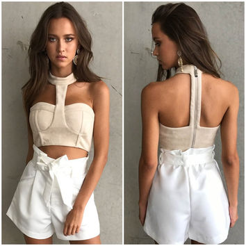 Fashion Female Solid Color Backless Sleeveless Wrapped Chest Hanging Neck Short Section Crop Top