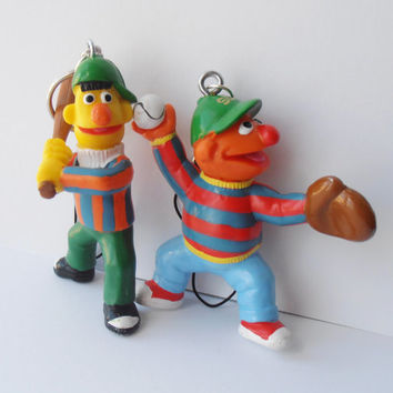 Ernie and Bert Retro Toy Keychains Sesame Street Key Rings