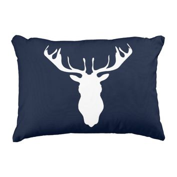 Elegant White Reindeer Silhouette on Navy Blue Accent Pillow
