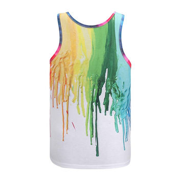 Hot model Europe and America fashion 7 colors pigment printing 3D vest Men tank tops casual summer t