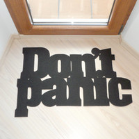 Don't panic floor mat. Funny doormat. Custom rug.