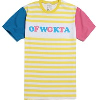 ODD FUTURE OFWGKTA Yellow Striped T-Shirt - Mens Tee - White