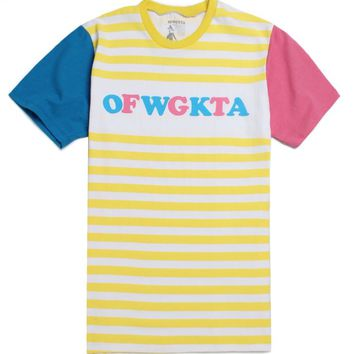 77ba60e3824322 ODD FUTURE OFWGKTA Yellow Striped T-Shirt - Mens Tee - White