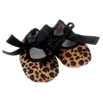 Baby shoes Leopard print bow slip soft Kids girl first walker Bowknot Leopard Printing Newborn kids Cloth bow knot Crib Shoes