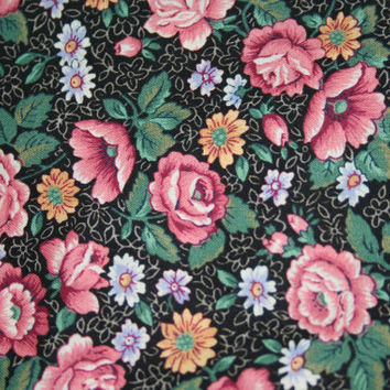 VIP Cranston Printworks  Rose Fabric 1 1/2 yards DESTASH Black Background with Pink Roses 100% Cotton Quilt Fabric Clothing Fabric