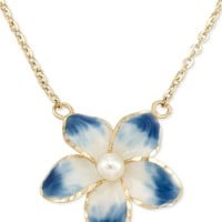 Macy's Cultured Freshwater Pearl (3mm) Flower Pendant Necklace in 14k Gold, 16