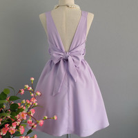 A Party V Backless Dress Pale Lilac Dress Lilac Prom Party Dress Pale Lilac Cocktail Dress Lilac Wedding Bridesmaid Dress Bow Dress XS-XL