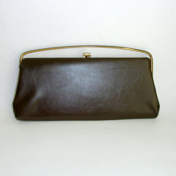 Vintage Chocolate Brown Faux Leather Purse Clutch, Retro 1940s 1950s Mid-Century Rockabilly Handbag, Gold Tone Hardware, Curved Handle