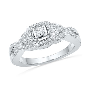 1/4 CT. T.W. Diamond Frame Twist Shank Promise Ring in Sterling Silver
