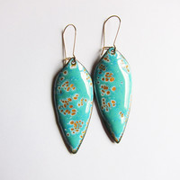 Big Leaf Earrings in Mint Green Enamel - Gold Wires