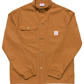 Brown Duck Chore Coat - Banded Collar