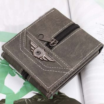 Vintage Mens Punk Style Leather Card Holder Zipper Wallet