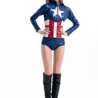 Female Amercia Movie America Captain Cosplay Costume For Halloween Women Sexy Tight Bikini Outfit