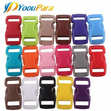 "Plastic Buckle 50Ps 3/8"" Mix Color Contoured Side Release Curved Clasp Buckles for Straps Webbing Survival Paracord Bracelets"