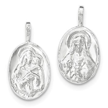 Sterling Silver Polished Jesus/mary & Child Reversible Chain Slide