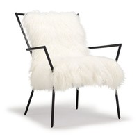 ANSEL CHAIR BLACK -TIBETAN FUR<BR>[ available online ]