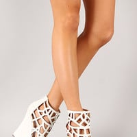 Liliana Honfleur-36 Leatherette Cut Out Open Toe Wedge