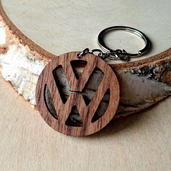 Wooden Volkswagen logo Keychain, Walnut Wood, Sign Keychain, Logo Keychain, Environmental Friendly Green materials