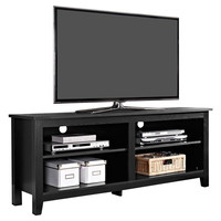 Contemporary Black Wood TV Stand - Holds up to 60-inch TV