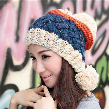 BomHCS Cute Women's Thick Cable Multicolor Handmade Knit Beanie Ear Muff Warm Hat with Soft Pom Pom