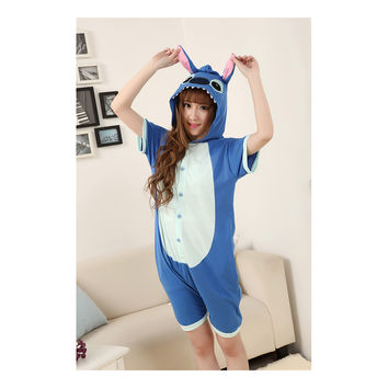 Unisex Adult Pajamas  Cosplay Costume Animal Onesuit Sleepwear Suit Summer   blue  stitch